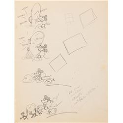 'Mickey Mouse' (4) concept drawings from an early unproduced short.