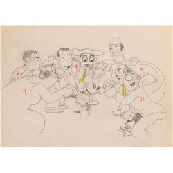 'Mickey Mouse', 'Stan Laurel', Oliver Hardy', Jimmy Durante' & more production drawing.