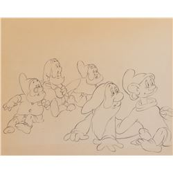 'Dopey', 'Doc', 'Happy', 'Sleepy', 'Sneezy' production drawing from Snow White and the Seven Dwarfs.