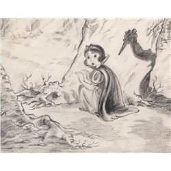 'Snow White' and 'Huntsman's shadow' production layout drawing from Snow White and the Seven Dwarfs.