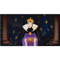 'Evil Queen' with 'Heart Box' production cel on print b/g from Snow White and the Seven Dwarfs.