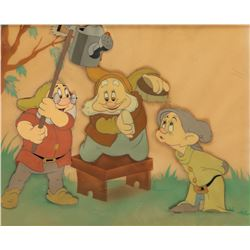 'Dopey', 'Doc' & 'Happy' production cels on Courvoisier b/g from Snow White and the Seven Dwarfs.