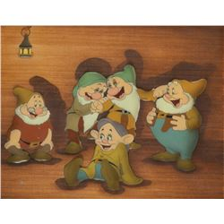 'Dopey', 'Doc', 'Sleepy', 'Bashful',  'Happy' production cels from Snow White and the Seven Dwarfs.
