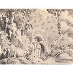 'Snow White' holding bird production layout drawing from Snow White and the Seven Dwarfs.