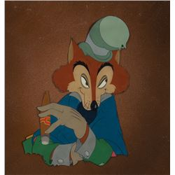 'Honest John Foulfellow' production cel on a Courvoisier airbrush background from Pinocchio.