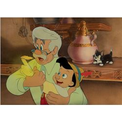 'Pinocchio', 'Geppetto', and 'Figaro' production cels on a production background from Pinocchio.