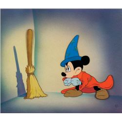 'Mickey Mouse' and 'Broom' production cels on a Courvoisier airbrushed background from Fantasia.