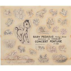 'Baby Pegasus' original model sheet drawing from 'The Pastoral Symphony' segment of Fantasia.