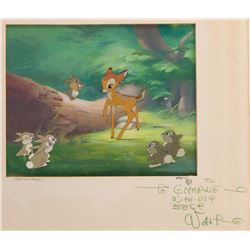 'Bambi', 'Thumper' and 'Rabbits' production cels on a production background from Bambi.