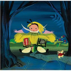 Mary Blair concept painting of 'Alice' and 'White Rabbit' from Alice in Wonderland.