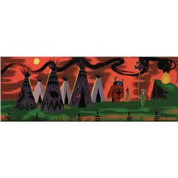 """Mary Blair pan concept painting from Peter Pan featuring 'Peter Pan', 'Tiger Lily' & 'Indian Chief""""."""