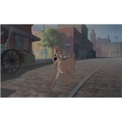 'Tramp' production cel on a pan production background from Lady and the Tramp.