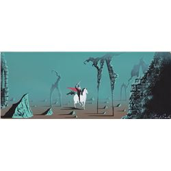 Eyvind Earle concept art painting featuring 'Prince Philip' and 'Samson' from Sleeping Beauty.