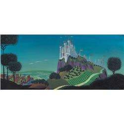 Eyvind Earle concept painting of Sleeping Beauty's Castle from Sleeping Beauty.