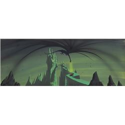 Eyvind Earle pan concept painting of Maleficent, Prince Philip, Samson & Castle from Sleeping Beauty