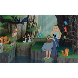 Ron Dias hand-painted Sleeping Beauty background and model cel of 'Briar Rose' & the forest animals.