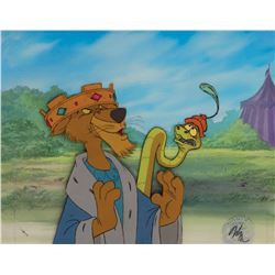 'Prince John' and 'Sir Hiss' production cels on a production background from Robin Hood.
