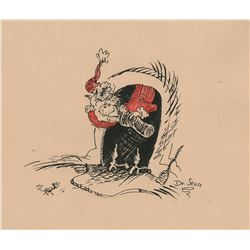 Dr. Seuss drawing of The Grinch Who Stole Christmas.