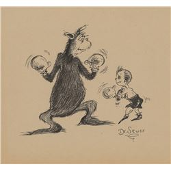 Dr. Seuss drawing of a small boy boxing a creature.