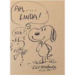Large Bill Melendez drawing of 'Snoopy' and 'Woodstock'.