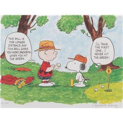 Charles Schulz limited edition lithograph entitled, 'Hitting the Green'.