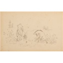 E. H. Shepard drawing of 'Winnie the Pooh', 'Eeyore' and 'Piglet'.