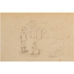 E. H. Shepard drawing of 'Christopher Robin' and 'Kanga'.