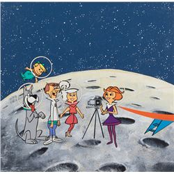 The Jetsons illustration art for record album cover entitled, 'The Jetsons, First Family on the Moon