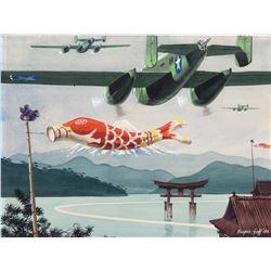 Harper Goff painting of World War II bomber planes flying over Japan.