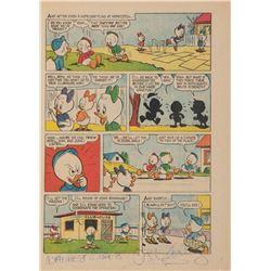 Walt Disney signature on Donald Duck comic book page.