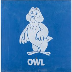 'Owl' metal parking lot sign.