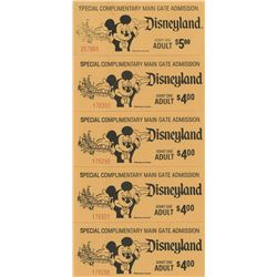 Vintage Disneyland (5) Main Gate Admission Tickets.