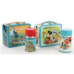 Disneyland and Walt Disney World metal lunch boxes with Thermos.