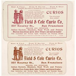 Field & Cole Curio, Indian Baskets etc, Business Cards (2)  88310