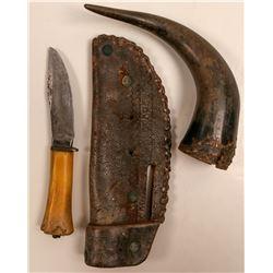 Marblh's Hunting Knife & Buffalo Horn. / 2 Items.  109605