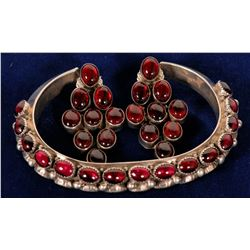 Navajo Sterling Silver and Garnet Cuff Bracelett and Earrings  108273