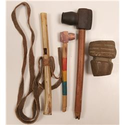 Native American Pipes & Whistle  / 4 Items.  109610