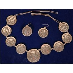 Hopi Sterling Silver Necklace and Earrings  108284