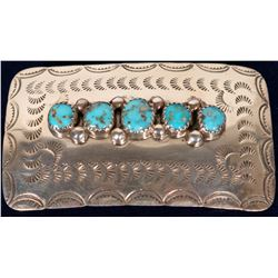 Navajo Sterling Silver and Turquoise Belt Buckle  108282