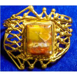 Vintage Gold Plated Filigree Custom Agate Cuff Bracelet  108276