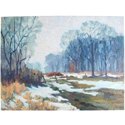 Winter Meadow Scene Oil on Canvas by J. La Verne Lane  80809