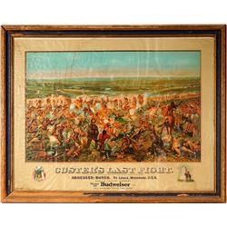 Custer's Last Stand Chromolithograph Print in Original Frame,  Anheuser Busch Budweiser.  108258