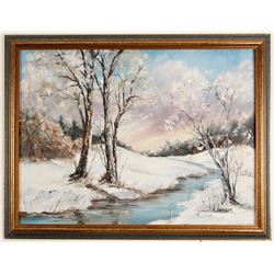 Snow Scene Painting by M. Jensen  64479