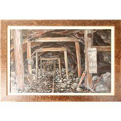 Underground Scene with Utah Mine Bell Signal Signed by Gardner  84830