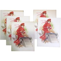 Woman in Red Driving an Antique Car Lithos  85146