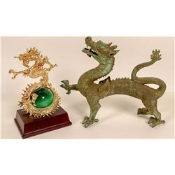Dragons, Metal & Ceramic Figurines  (2 Contemporary)  105997