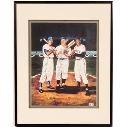 Mickey Mantle, Duke Snider, Willie Mays Signed Lithograph Framed  104549