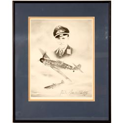A sketch of Major Gunther Rall with autograph by artist Lonnie Ortega  109508