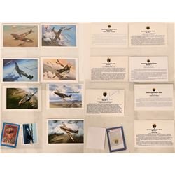 American Fighter Aces, Pilot-Autographed, Artistic Aviation Post Card Collection, Featuring Oil Pain