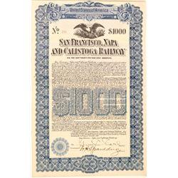 San Francisco, Napa, & Calistoga Railway $1,000 Bond  106863